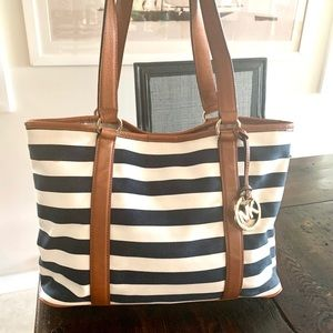 Michael Kors Canvas and Leather Striped Tote